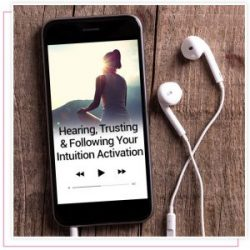 product screenshot of audio activation titled hearing, trusting & following your intuition